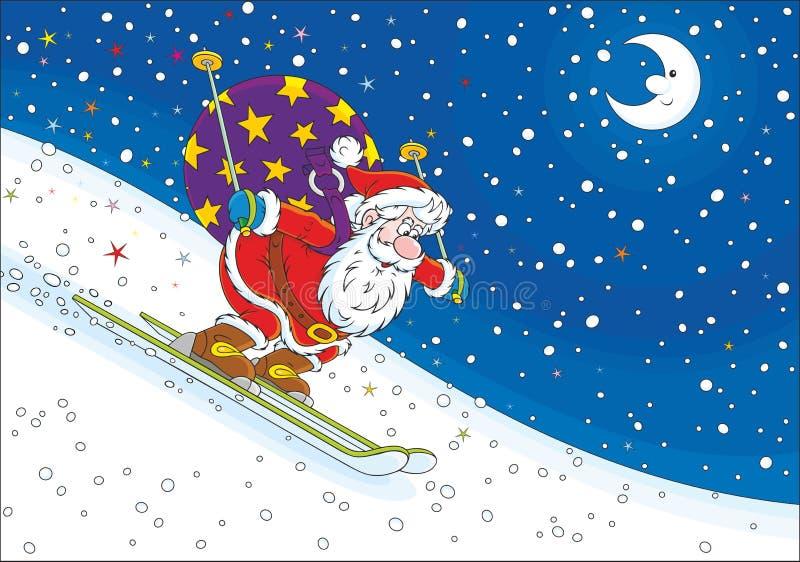 Santa Claus skidåkare stock illustrationer