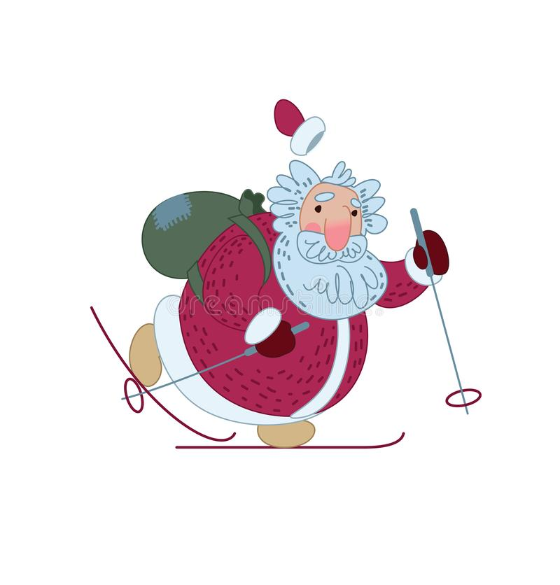Santa Claus is skiing with a bag of gifts. Illustration for greeting card. Vector illustration stock illustration