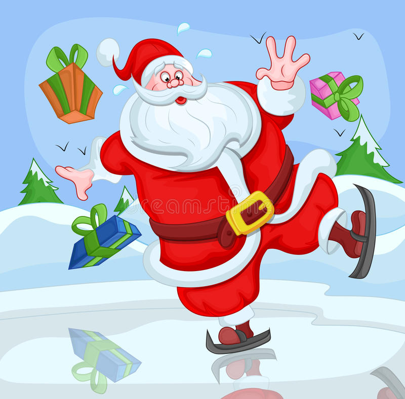 Santa Claus Skiing Funny Cartoon - Kerstmis Vectorillustratie vector illustratie