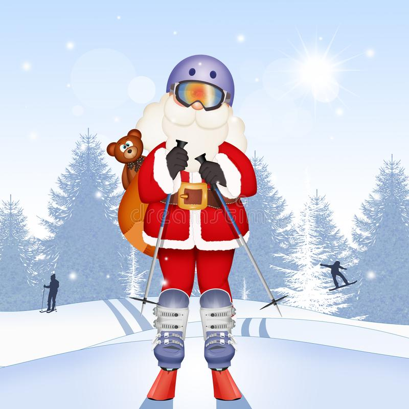 Santa Claus with skis stock illustration