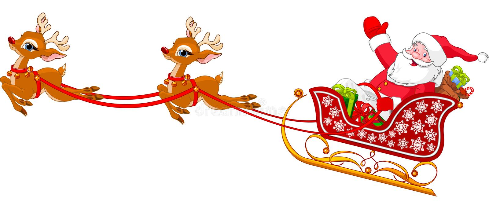 Santa Claus in Sled. Cartoon illustration of Santa Claus in his sleigh