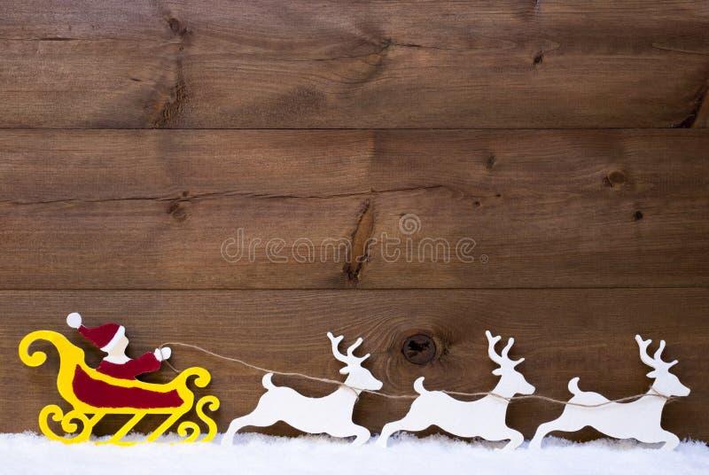 Santa Claus Sled ren, snö, kopieringsutrymme arkivfoton