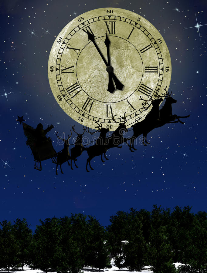 Download Santa Claus On Sledge With Deer Stock Illustration - Image: 21598899