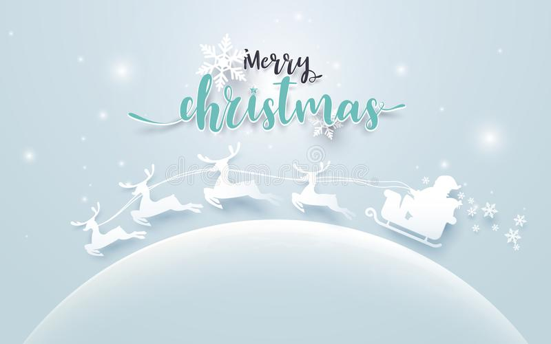 Santa Claus in a Sledge and Reindeer on moon with Merry Christmas text on soft blue background. Paper art Style stock illustration