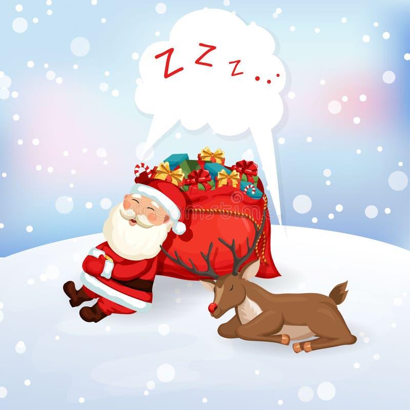 Santa Claus Sleeping With Reindeer Stock Vector - Image ...