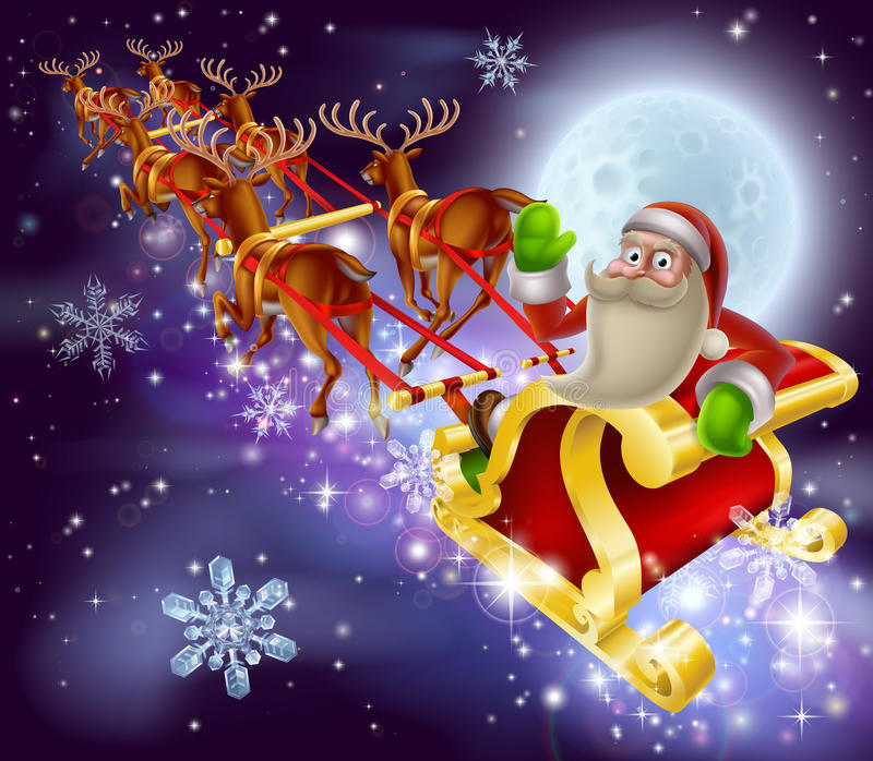 Santa Claus Sleigh Christmas Scene vector illustratie