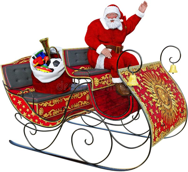 Santa Claus Sleigh leksaker som isoleras royaltyfri illustrationer