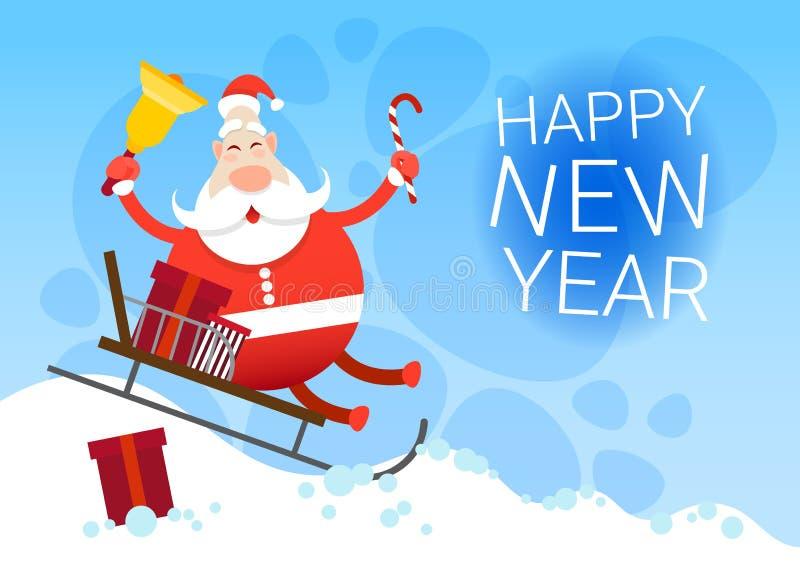 Santa Claus Sleigh Present Box Christmas-de Groetkaart van het Vakantie Gelukkige Nieuwjaar royalty-vrije illustratie