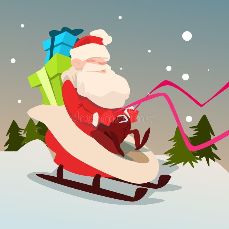 Santa Claus Sleigh Present Box Christmas-de Groetkaart van het Vakantie Gelukkige Nieuwjaar vector illustratie