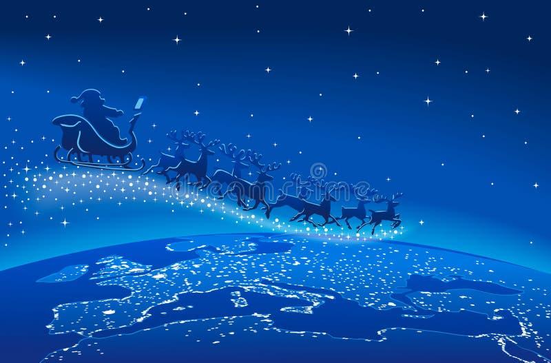 Santa Claus Sleigh Reindeer Blue Stars stock illustratie