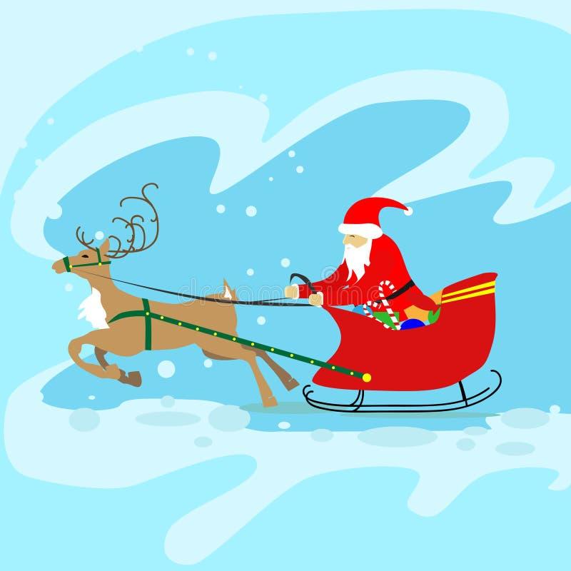 Santa Claus Sleigh Reindeer Christmas New-Jaar vector illustratie