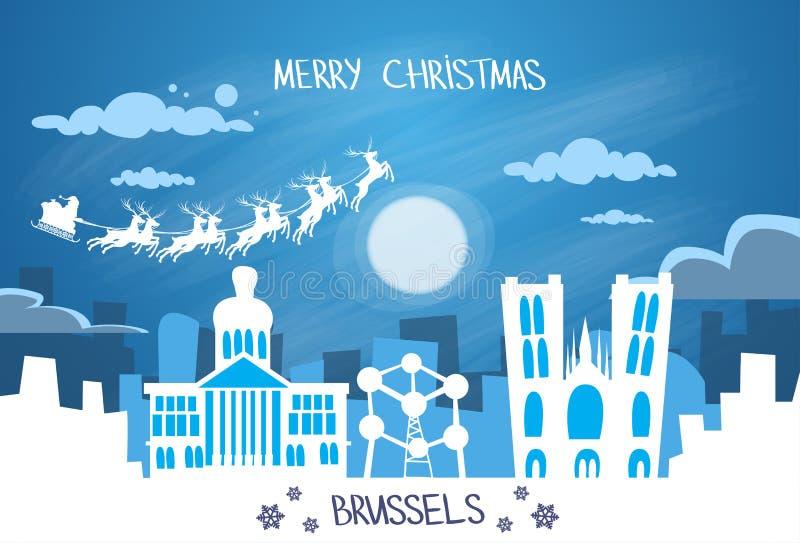 Santa Claus Sleigh Reindeer Fly Belgium-Hemel vector illustratie