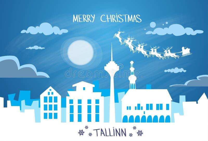 Santa Claus Sleigh Reindeer Fly Estonia-Hemel vector illustratie