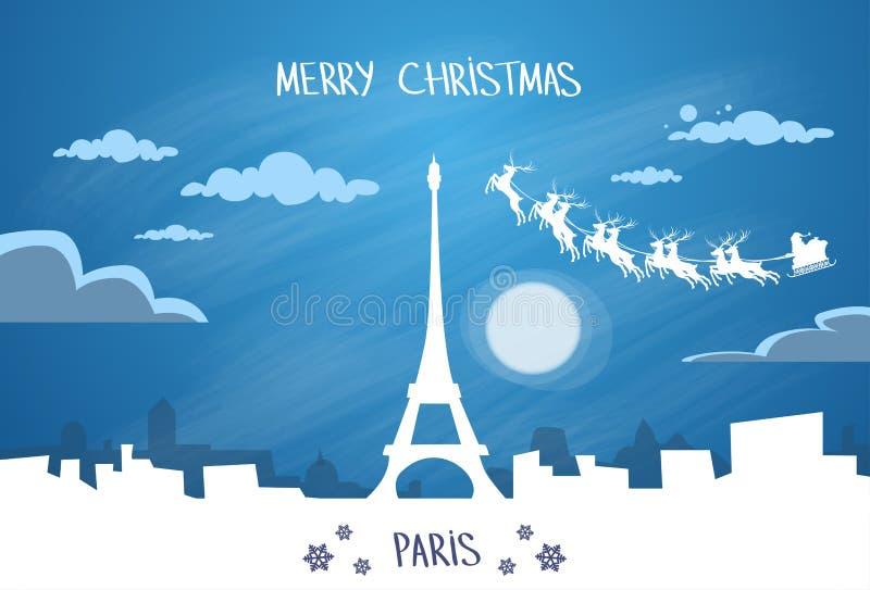 Santa Claus Sleigh Reindeer Fly France-Hemel vector illustratie
