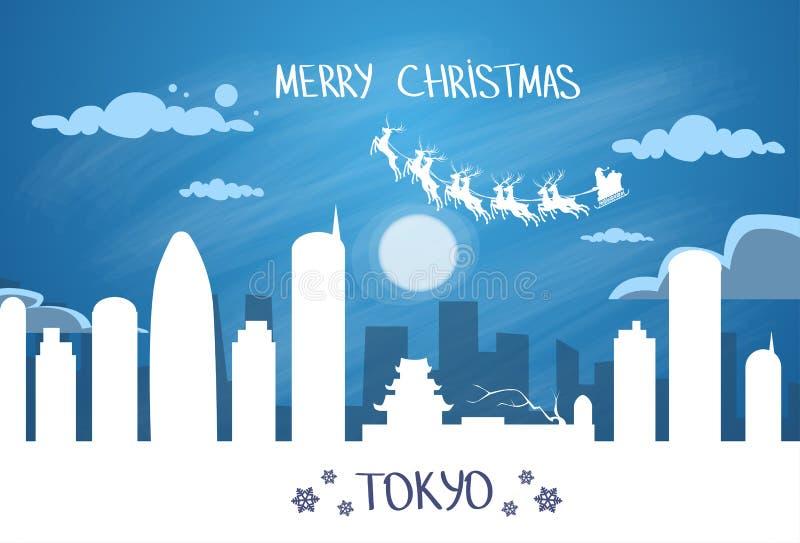 Santa Claus Sleigh Reindeer Fly Japan-Hemel royalty-vrije illustratie
