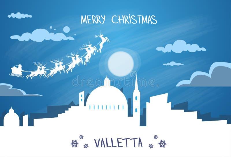 Santa Claus Sleigh Reindeer Fly Malta-Hemel stock illustratie
