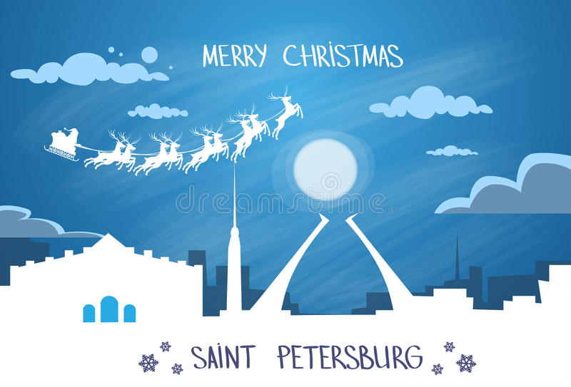 Santa Claus Sleigh Reindeer Fly Russian-Hemel stock illustratie