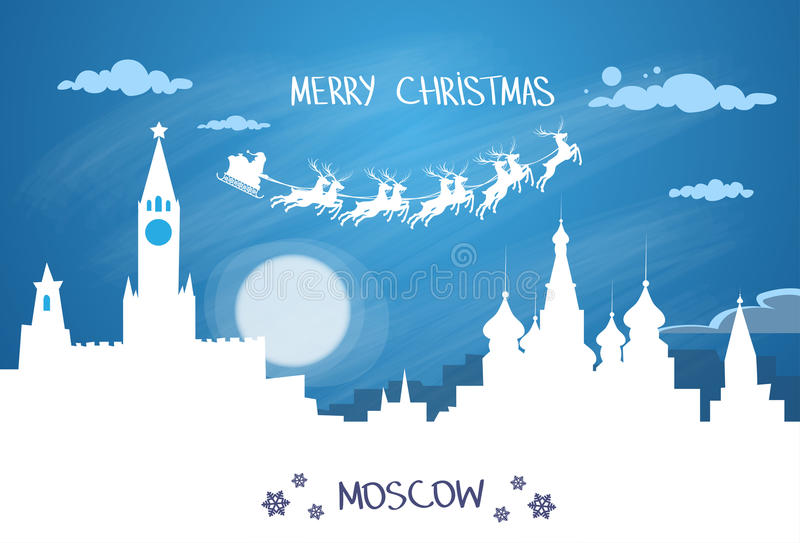 Santa Claus Sleigh Reindeer Fly Russian-Hemel vector illustratie