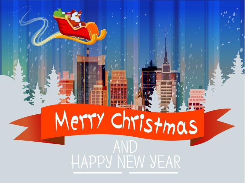 Santa Claus Sleigh Reindeer Fly Sky över kort för nytt år för jul för horisont för snö för Cityscape för sikt för stadsskyskrapan vektor illustrationer