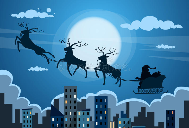 Santa Claus Sleigh Reindeer Fly Sky över stad stock illustrationer