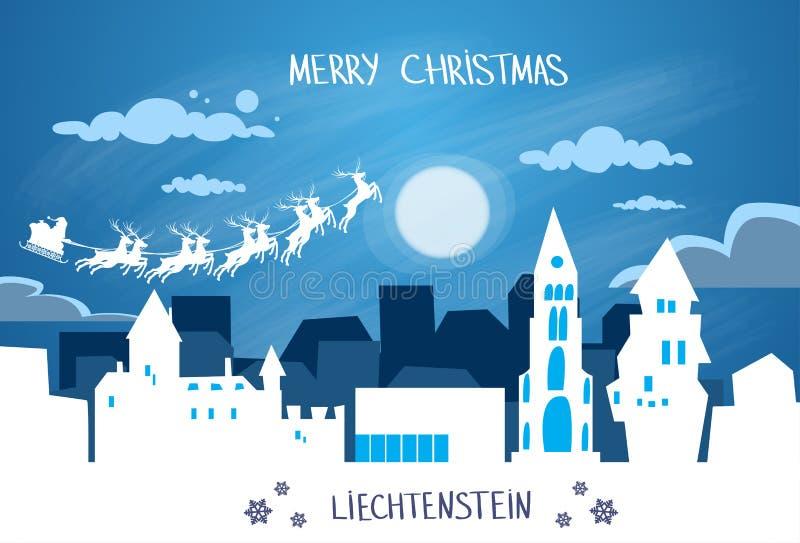 Santa Claus Sleigh Reindeer Fly Sky stock illustratie