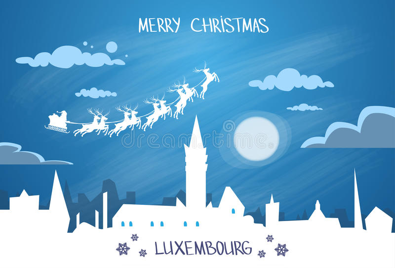 Santa Claus Sleigh Reindeer Fly Sky vector illustratie