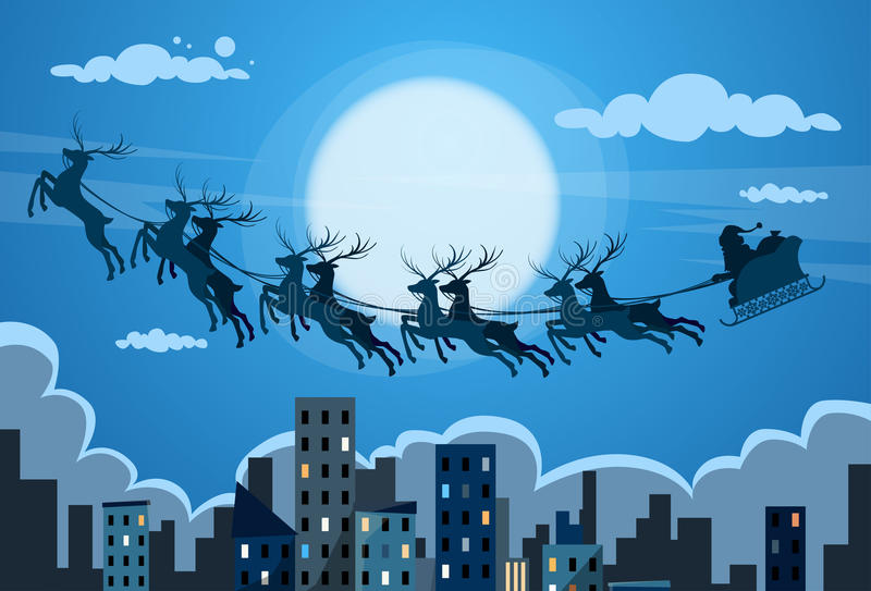 Santa Claus Sleigh Reindeer Fly Sky over City vector illustration