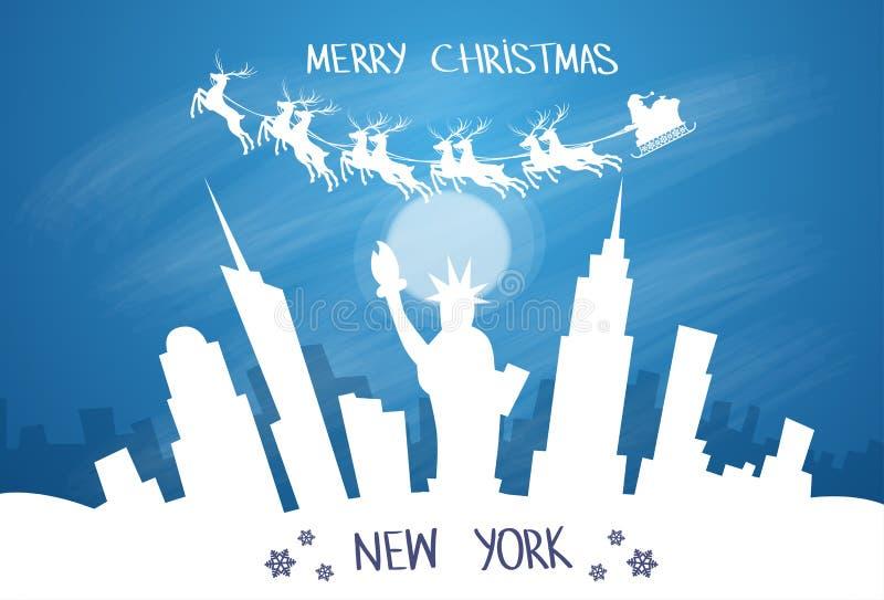 Santa Claus Sleigh Reindeer Fly Sky over New York royalty-vrije illustratie