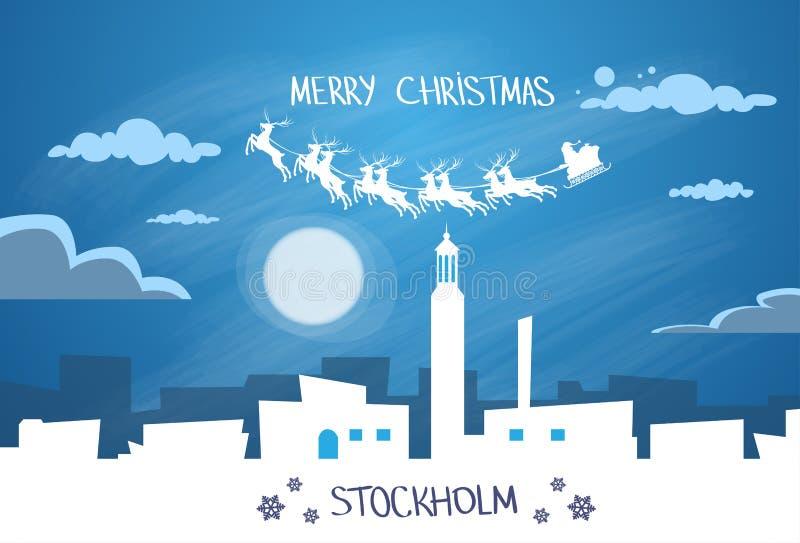 Santa Claus Sleigh Reindeer Fly Sweden-Hemel vector illustratie