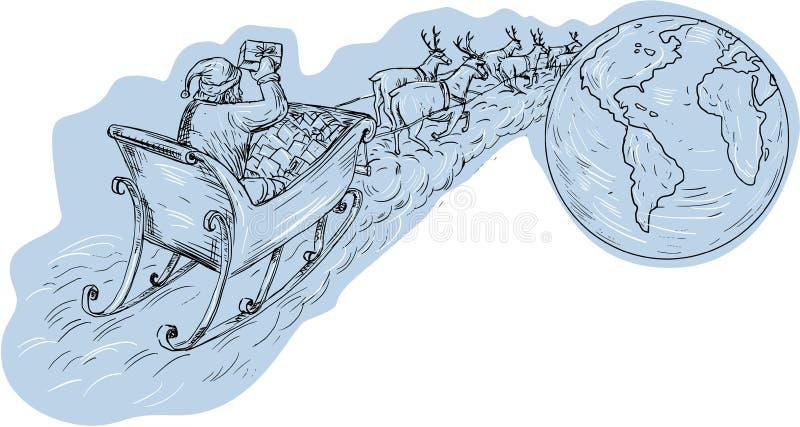 Santa Claus Sleigh Reindeer Gifts Around de Wereldtekening vector illustratie