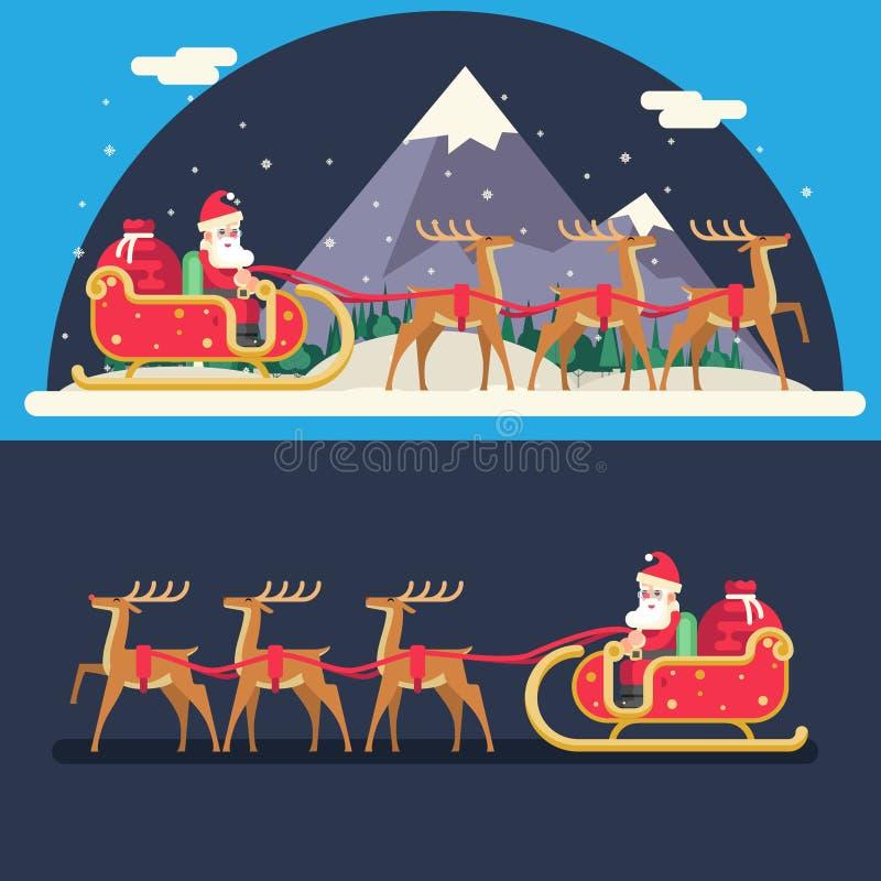Santa Claus Sleigh Reindeer Gifts Winter-Sneeuw vector illustratie