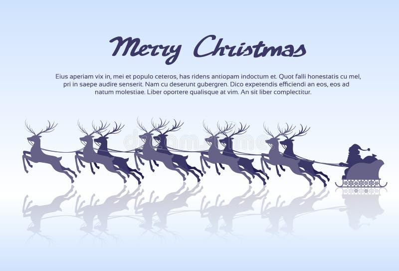 Santa Claus Sleigh Reindeer Silhouette Christmas stock illustratie