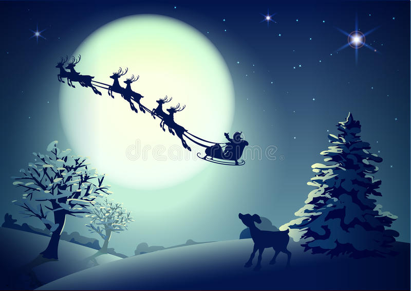Santa Claus in sleigh and reindeer sled on background of full moon in night sky Christmas. Vector illustration for greeting card stock illustration