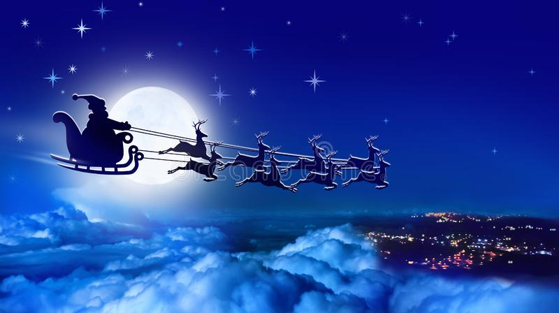 Santa Claus in a sleigh and reindeer sled flies over Earth on background of full moon stock images