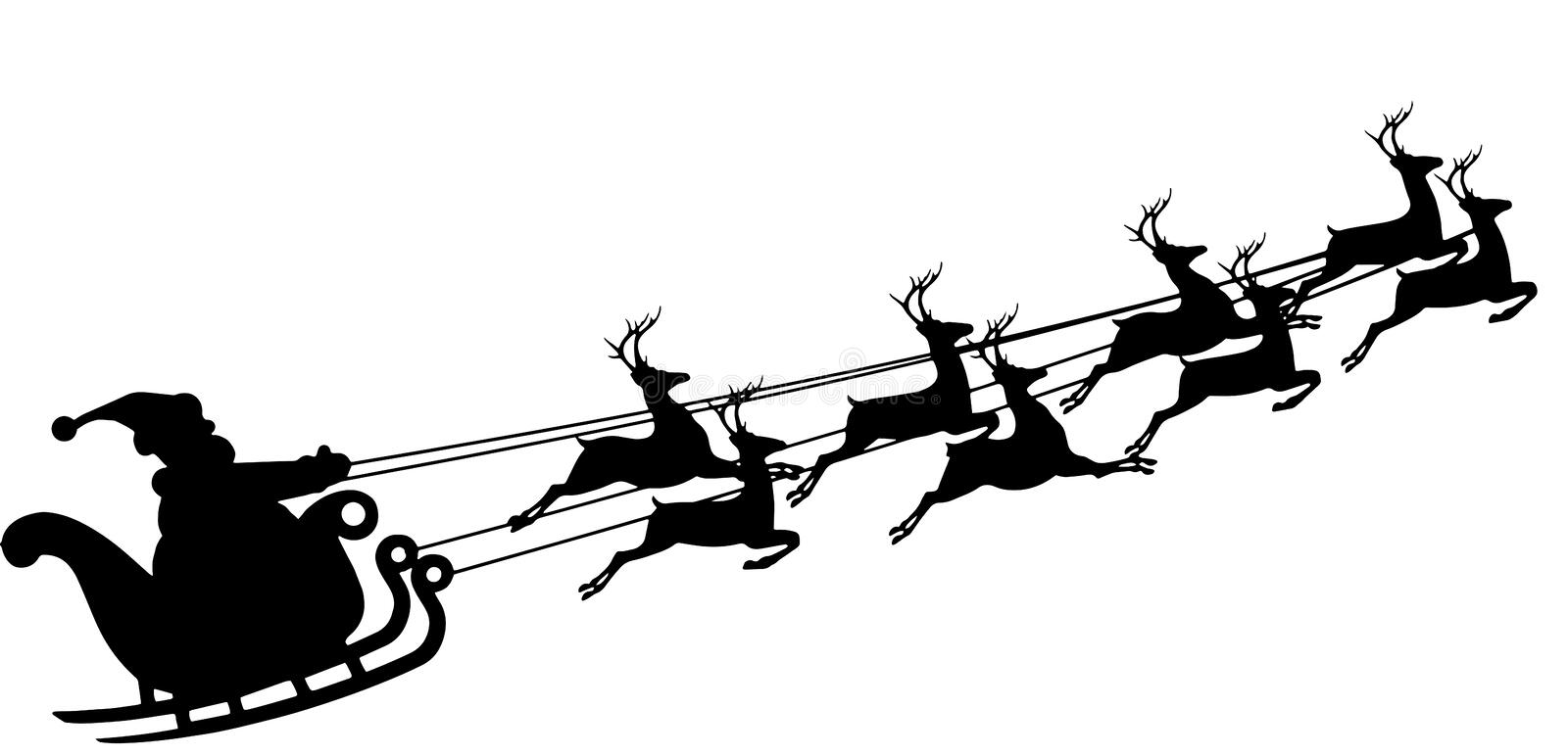 Santa Claus in a sleigh. Reindeer and sleigh. royalty free stock photo