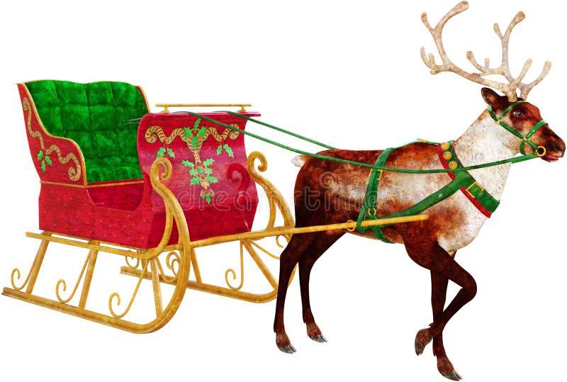 Santa Claus Sleigh, rena, isolada ilustração do vetor