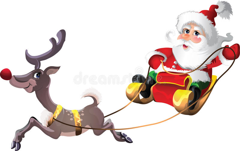 download santa claus in sleigh with rudolph stock vector illustration of greetings snowing - Rudolph And Santa