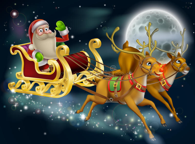 Santa Claus Sleigh Scene stock illustrationer