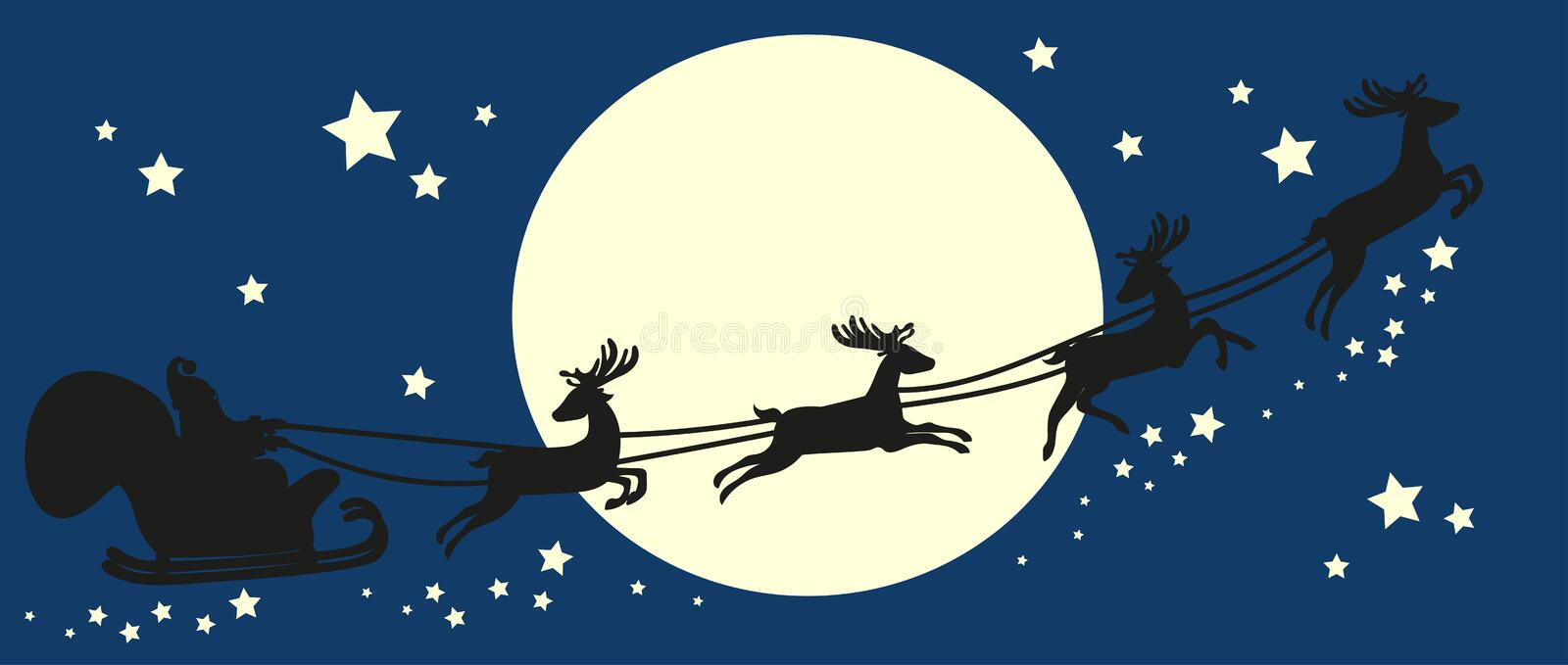 Santa Claus in sleigh. Silhouette on blue sky. Santa Claus flying in sleigh with deer. Black silhouette on blue sky with moon. Vector illustration royalty free illustration