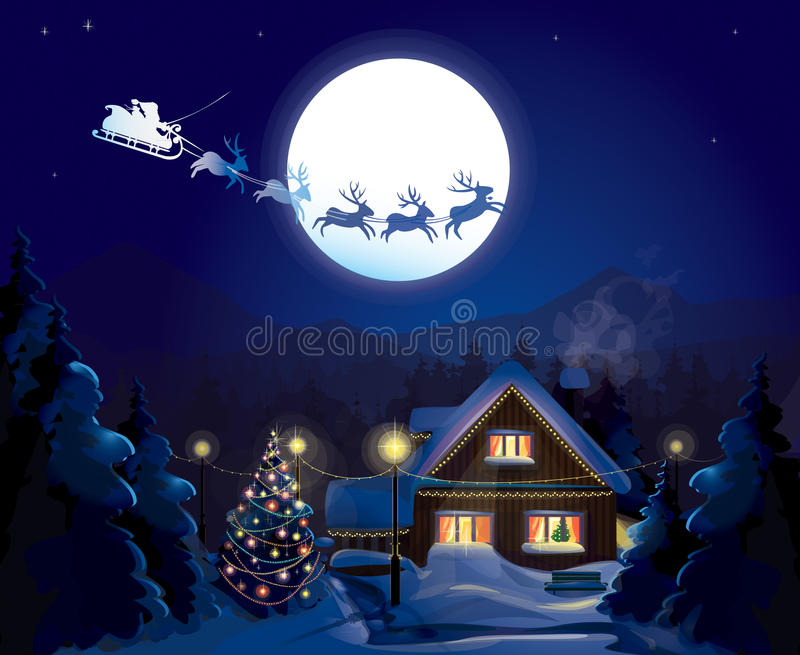 Santa Claus Sleigh, vector vector illustratie