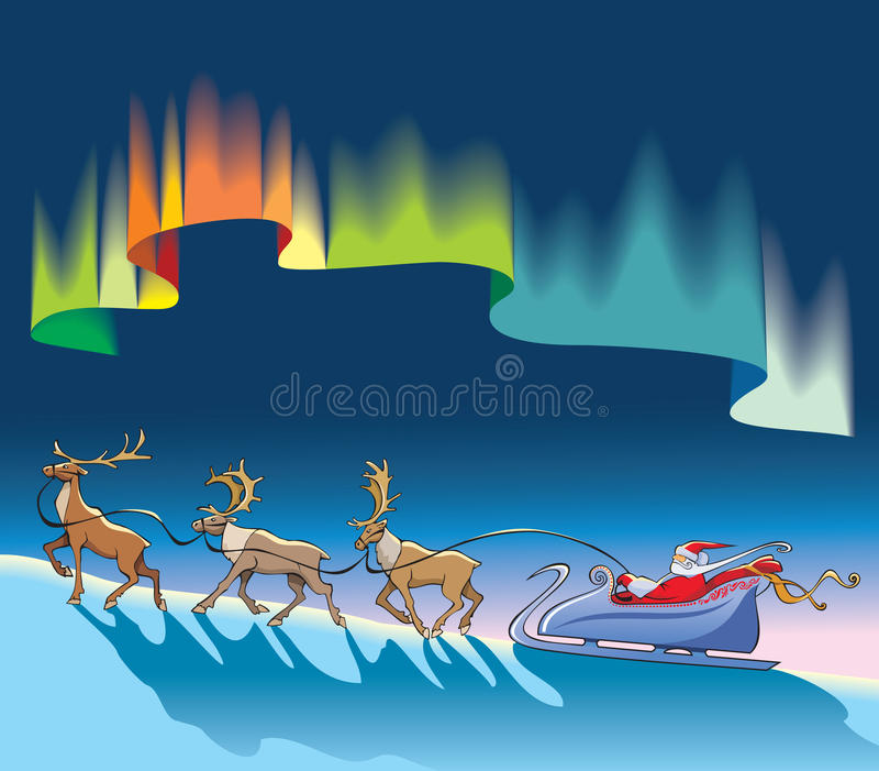 Download Santa Claus Sleighing Under Northern Lights Stock Vector - Image: 11729467