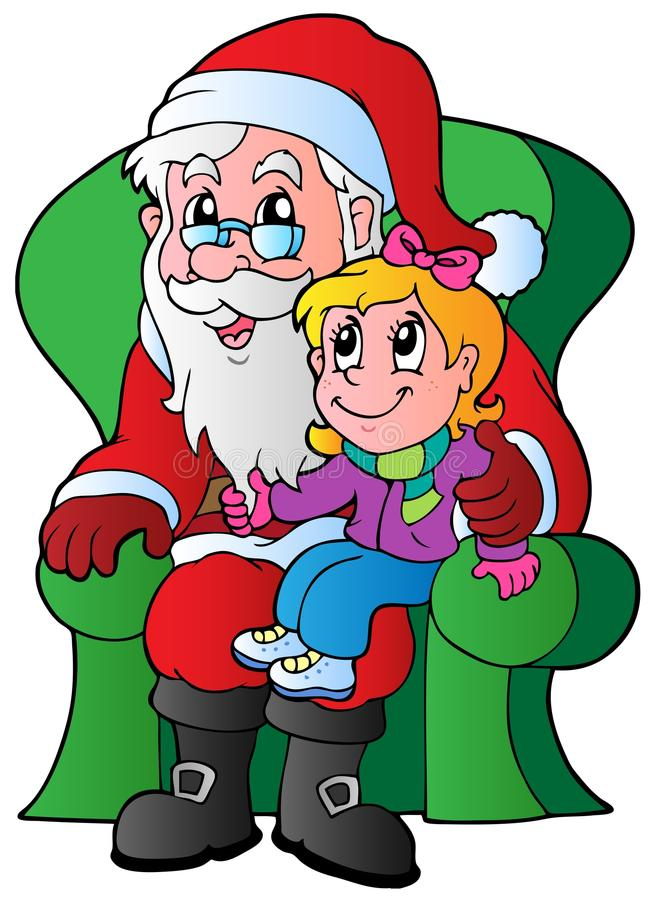 Download Santa Claus and small girl stock vector. Image of claus - 22129606