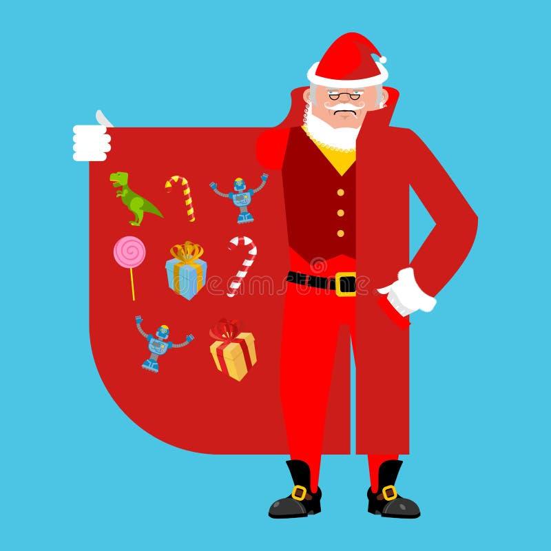 Santa Claus Smuggler que vende los regalos varón del Capa-vendedor stock de ilustración