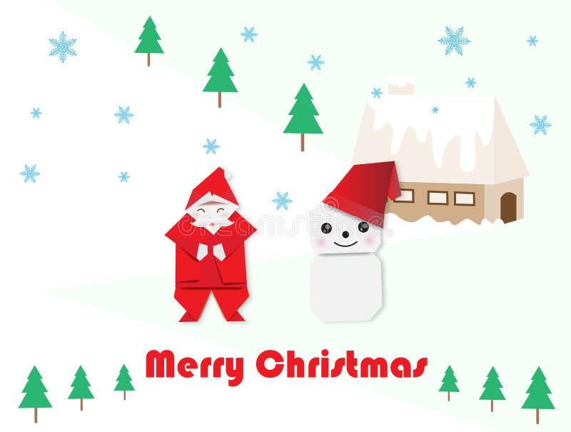 Santa Claus, snögubbe och gran-träd för jul royaltyfri illustrationer