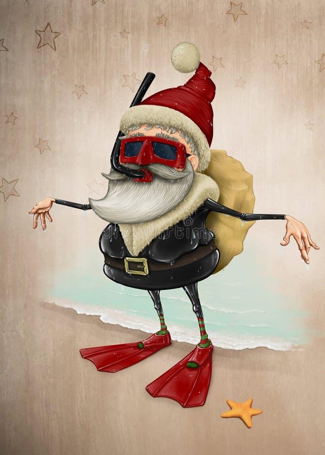Santa Claus snorkla arkivfoto
