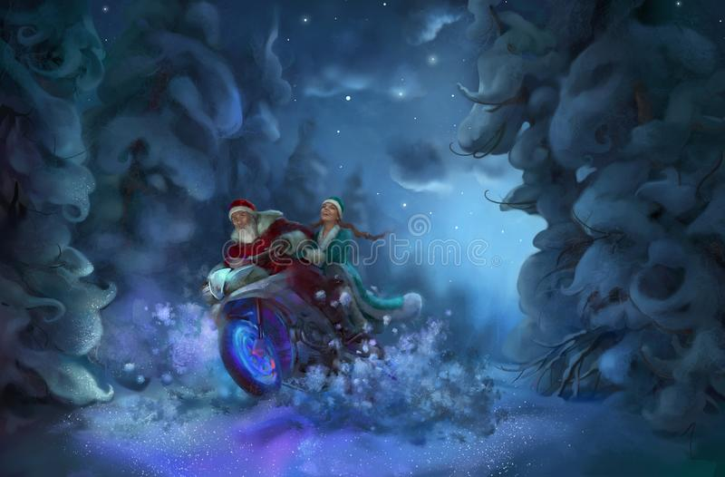 Santa Claus and Snow Maiden. In a forest illustration vector illustration