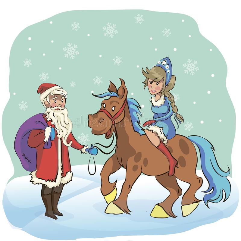 Santa Claus and Snow Maiden riding a horse, behind a snowstorm more in the snow on a white background royalty free illustration
