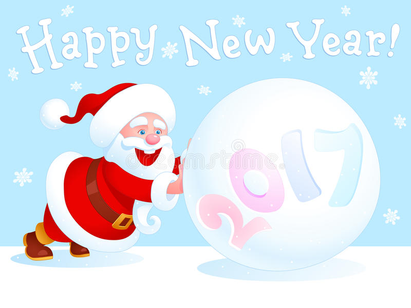 Santa Claus and snowball. Funny Santa Claus pushes a large snowball with year number on the edge of white sheet. There is a Happy New Year jolly handwritten stock illustration