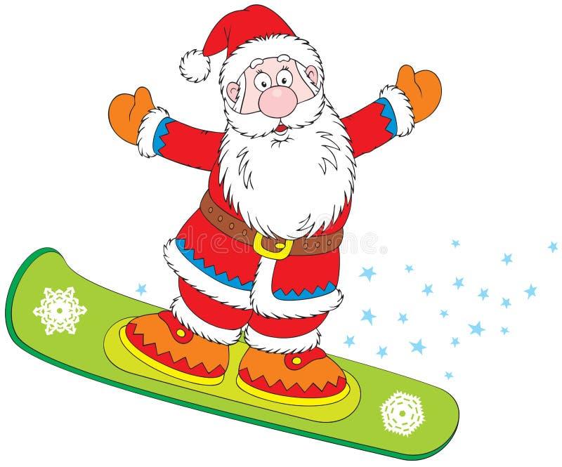 santa Claus snowboarder διανυσματική απεικόνιση