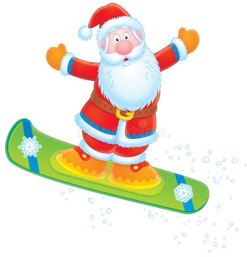 santa Claus snowboarder απεικόνιση αποθεμάτων